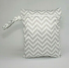 Small Wet Bag for Nappies, Breast Pads, Wipes, Cloth Pads - Grey Zig Zag *UK*