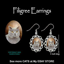British Shorthair Silver Grey Cat - Silver Filigree Earrings Jewelry