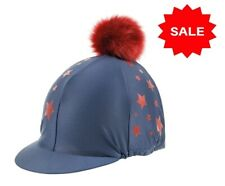 SALE Bridleway Navy Riding Hat Skull Cover With Pom Pom Stretch One Size Stars