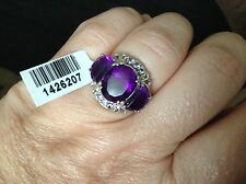 Lusaka Amethyst (Ovl 4.00 Ct), Tanzanite Ring in Platinum Overlay silver ring
