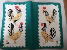 Vintage / Retro Linen Cockerel Rooster Table Place Mat - Single