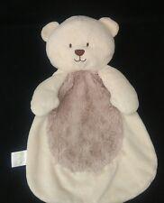 Baby Gear Teddy Bear Furry Cream Beige Brown Plush Security Blanket Lovey
