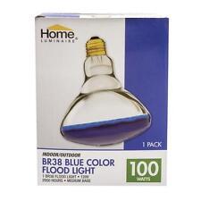 """100W BLUE Flood Light Bulb BR38 Indoor Outdoor 4.75"""" Diameter"""