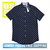 Tommy Hilfiger Men's NWT SLIM Fit STARS on Navy Button Up SH SLeeve Shirt XS