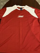 Vintage Tommy Hilfiger Red White Polyester Stretch Tommy Jeans Mens T Shirt L