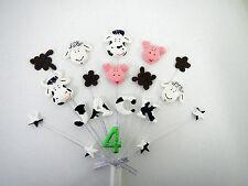 Farm animal, yard, pig, cow, sheep birthday cake topper, personalised name, age