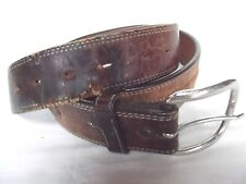 vtg Justin belt leather brn stitch embroid western S M removable buckle DISTRESS