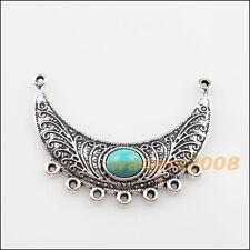 2 New Retro Charms Tibetan Silver Turquoise 2-7 Moon Pendants Connectors 37x54mm
