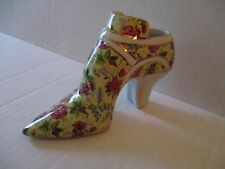 Formalities by Baum Bros Hand Painted10k Gold Floral Design Porcelain Shoe