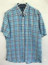 TOMMY HILFIGER Mens Blue Yellow Gold White Plaid Check Short Sleeve Shirt Sz L