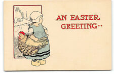 Easter-H.L.W. Woehler-Dutch Girl-Basket-Rooster-Hand Embossed-Antique Postcard