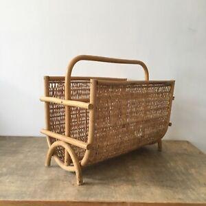 Vintage Bamboo Cane Wicker Weave Magazine Rack Storage Basket Boho Tiki