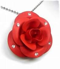 NEU 56cm HALSKETTE ROSE rot STRASSSTEINE kristallklar/klar COLLIER Blume BLÜTE