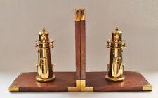 1 Paar Buchstützen Leuchtturm Holz / Messing