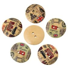 4 x 30mm wood sewing buttons with random pattern of London images.