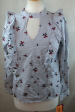 NWT MOSSIMO SUPPLY WOMENS XL BLOUSE SHIRT PEASANT TOP RUFFLE TRIM EMBROIDERED