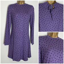 M&S Purple Spot Print Soft Stretch Jersey Swing Dress Size 10,14,18,20 (ms-307h)