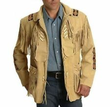 Mens Cowboy Suede Leather Jacket Western Coat Fringes Beads American Indian 80's