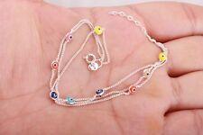 Turkish Jewelry Evil Eye Nazar 3 Lines Multicolor 925 Sterling Silver Bracelet