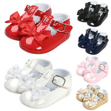 Baby Girl Newborn Princess Bow Shoes Spanish Party Soft Sole Sneakers Pram 0-18M
