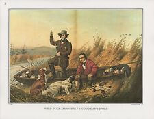 "1972 Vintage Currier & Ives HUNTING ""WILD DUCK SHOOTING"" COLOR Print Lithograph"