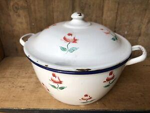 Vintage FRENCH ENAMEL WARE CASSEROLE Lidded Bowl Planter Pot Display Roses