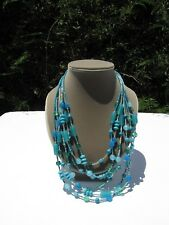 Multi Strand Necklace Ocean Blue Seed Bead Costume Jewelry Glass Beads