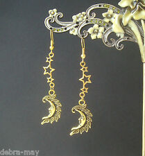 Golden Moon Face Goddess and Stars Dangly Celestial Earrings