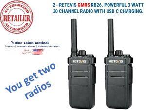 Retevis GMRS RB26  3 Watt 30 Channel Radio USB C Double Pack