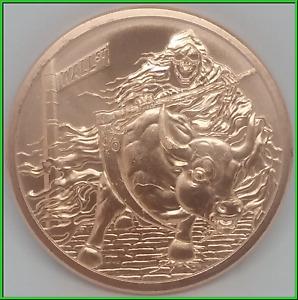 2019 2oz Rate Reaper Copper Silver Shield DotD Series .999 Round Scythe Death