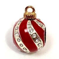 Brighton Christmas Deco Stopper Bead, J95152, Silver/Red Enamel, New