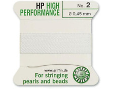 HP HIGH PERFORMANCE WHITE SILK STRINGING THREAD 0.45mm GRIFFIN SIZE 2 - FT799