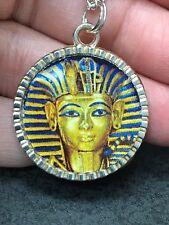 "Silver with 18"" Necklace G201 Egypt King Tut Pharaoh Charm Tibetan"