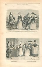 Mode de Strasbourg Robe de Bal Marchande de Tabac Cérémonie Alsace GRAVURE 1847
