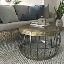 Dillon Barrel Style Coffee Table/Antique Gold Metal Table/Brass Look/Industrial