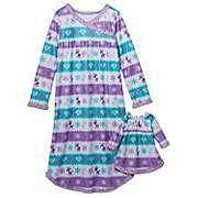 NWT Fleece Winter Nightgown Girls Size 4 Doll Gown Christmas Holiday Pjs Dolly