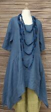 LAGENLOOK BEAUTIFUL ASYMMETRICAL QUIRKY LINEN LONG DRESS*BLUE*BUST UP TO 46""
