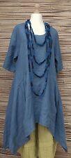 "LAGENLOOK BEAUTIFUL ASYMMETRICAL QUIRKY LINEN LONG DRESS*BLUE*BUST UP TO 46"""