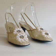 Zapatos De Fiesta Christian Pauvert Oro flor de cuero y malla 1960s Vintage Uk 4.5