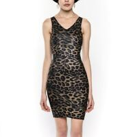 Women Leopard Print Bodycon Dress Ladies Animal Print Dress