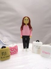 girl / young lady with her shopping bags edible birthday cake topper