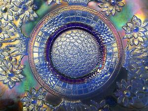 VTG**SUPERB** FENTON COBALT BLUE ORANGE TREE BEARDED BERRY CARNIVAL GLASS PLATE