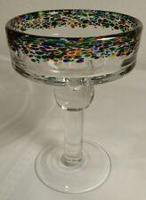 Art Deco Multicolor Hand Blown Glass Margarita/Dessert Glass/Candle Holder