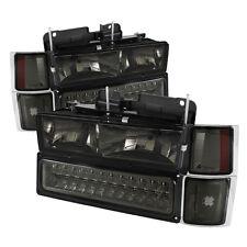 94-98 Chevy Pickup Truck Tahoe Suburban Smoke LED Headlights Bumper Corner Set
