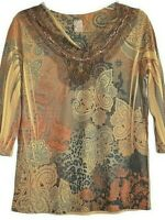 Only 9 Blouse Pullover Top Shirt Size PXL Gold Batik Beaded V-Neck 3/4 Sleeves
