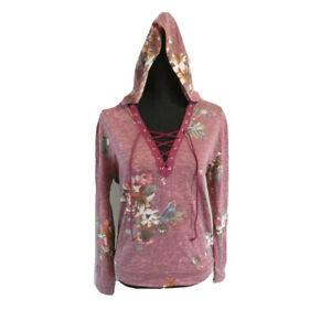Gypsies & Moondust Burgundy Junior's Size S Floral Printed Lace-Up Hoodie