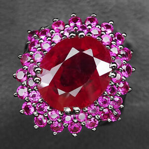 Ruby Blood Red Oval 9.70 Ct. 925 Sterling Silver Black Ring Size 6.5 Jewelry