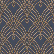 Astoria Art Déco Papel Pintado Azul Oscuro/Dorado - Rasch 305340