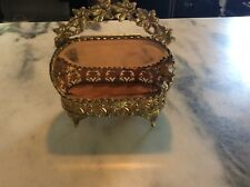 Vtg Brass  Ormolu Style  Jewelry Casket Trinket Box with Beveled  Glass