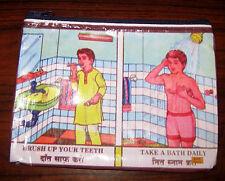 Kitsch Indian Boy Hygiene BRUSH YOUR TEETH TAKE A BATH Bag Cosmetic Pencil Bag